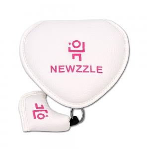 뉴즐 반달 자석 투볼 퍼터커버 화이트 핑크자수